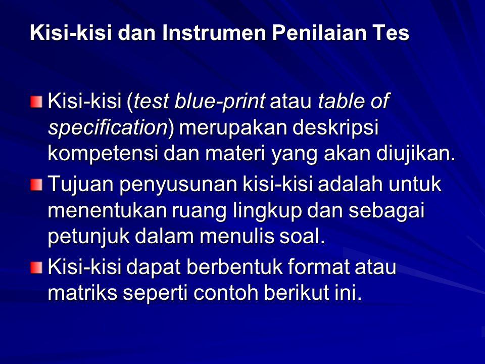 Kisi-kisi dan Instrumen Penilaian Tes Kisi-kisi (test blue-print atau table of specification) merupakan deskripsi kompetensi dan materi yang akan diujikan.