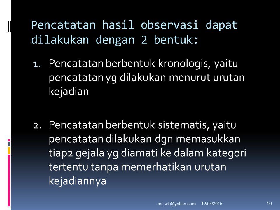 Pencatatan hasil observasi dapat dilakukan dengan 2 bentuk: 1.