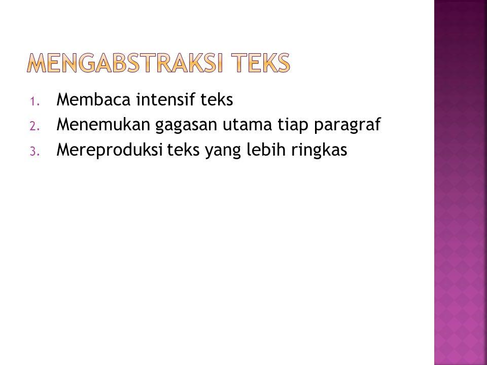 1. Membaca intensif teks 2. Menemukan gagasan utama tiap paragraf 3. Mereproduksi teks yang lebih ringkas