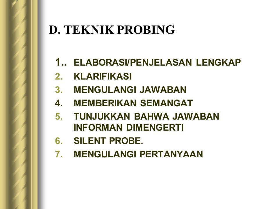 D. TEKNIK PROBING 1.. ELABORASI/PENJELASAN LENGKAP 2.KLARIFIKASI 3.MENGULANGI JAWABAN 4.MEMBERIKAN SEMANGAT 5.TUNJUKKAN BAHWA JAWABAN INFORMAN DIMENGE
