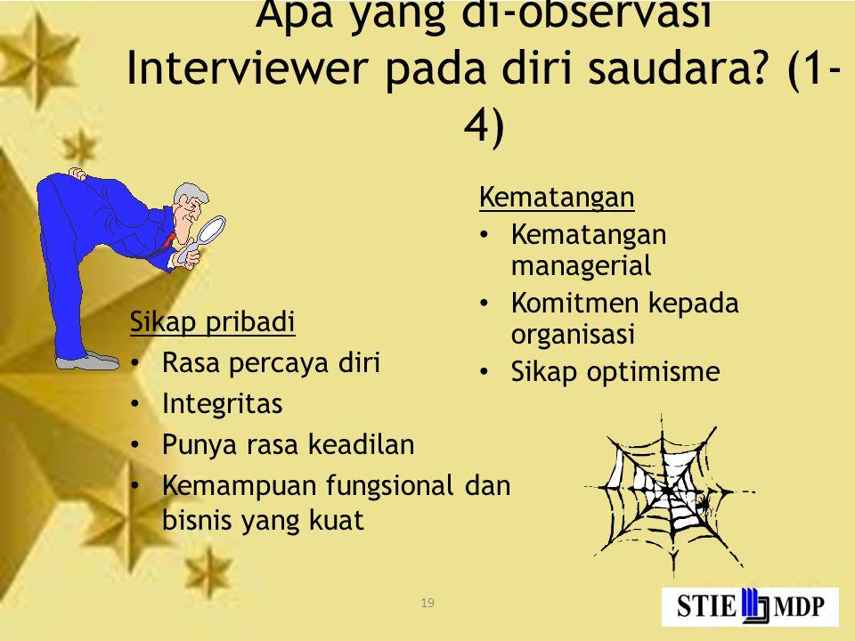 19 Apa yang di-observasi Interviewer pada diri saudara.