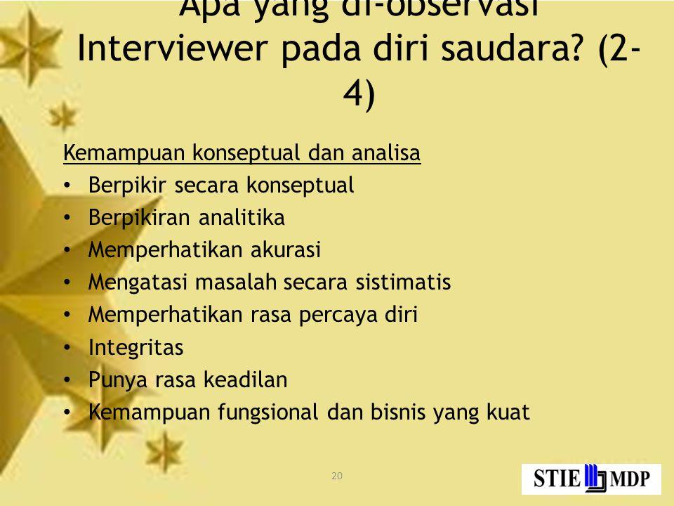 20 Apa yang di-observasi Interviewer pada diri saudara.