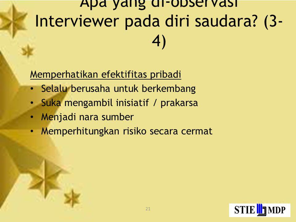 21 Apa yang di-observasi Interviewer pada diri saudara.
