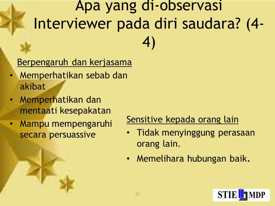 22 Apa yang di-observasi Interviewer pada diri saudara.