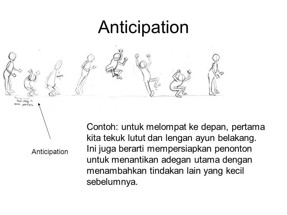 Anticipation Contoh: untuk melompat ke depan, pertama kita tekuk lutut dan lengan ayun belakang. Ini juga berarti mempersiapkan penonton untuk menanti
