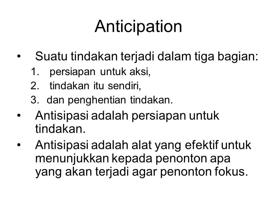 Anticipation Suatu tindakan terjadi dalam tiga bagian: 1. persiapan untuk aksi, 2. tindakan itu sendiri, 3.dan penghentian tindakan. Antisipasi adalah