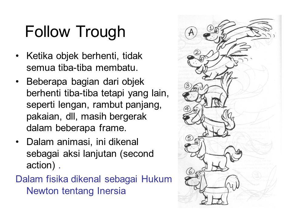 Follow Trough Ketika objek berhenti, tidak semua tiba-tiba membatu. Beberapa bagian dari objek berhenti tiba-tiba tetapi yang lain, seperti lengan, ra