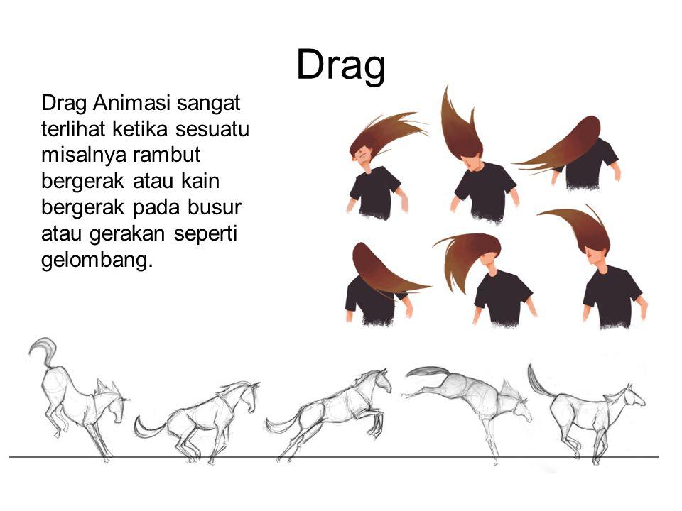 Drag Animasi sangat terlihat ketika sesuatu misalnya rambut bergerak atau kain bergerak pada busur atau gerakan seperti gelombang. Drag