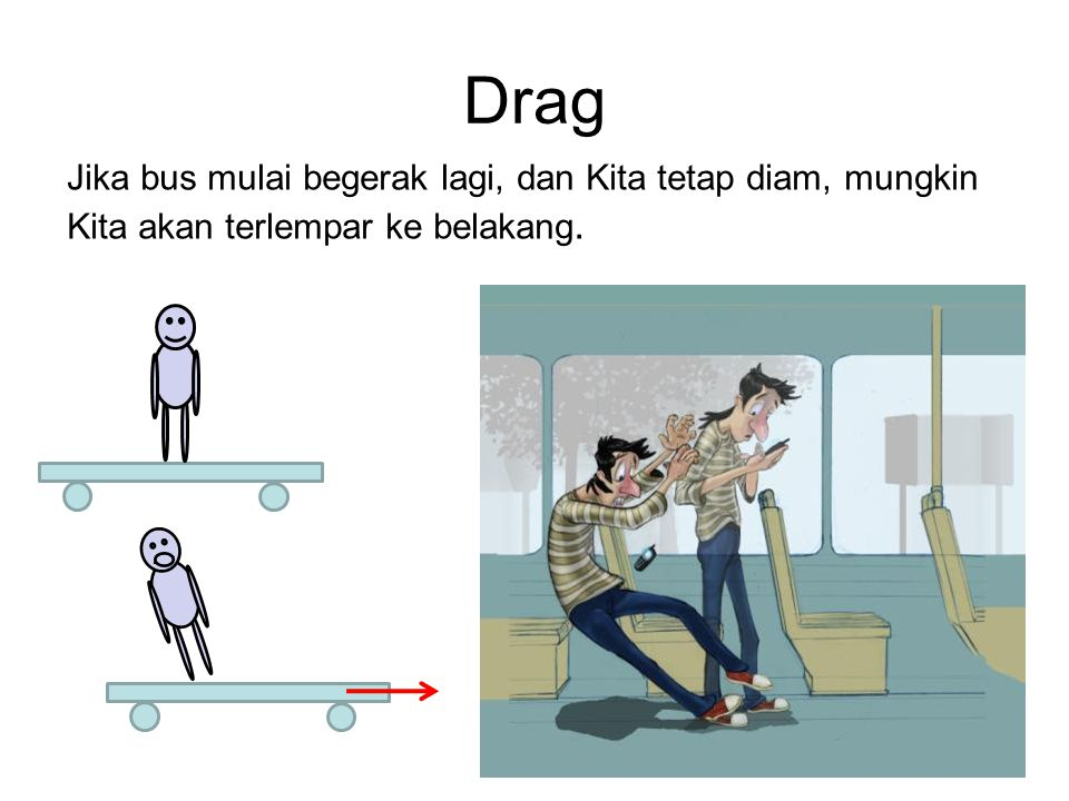 Jika bus mulai begerak lagi, dan Kita tetap diam, mungkin Kita akan terlempar ke belakang.