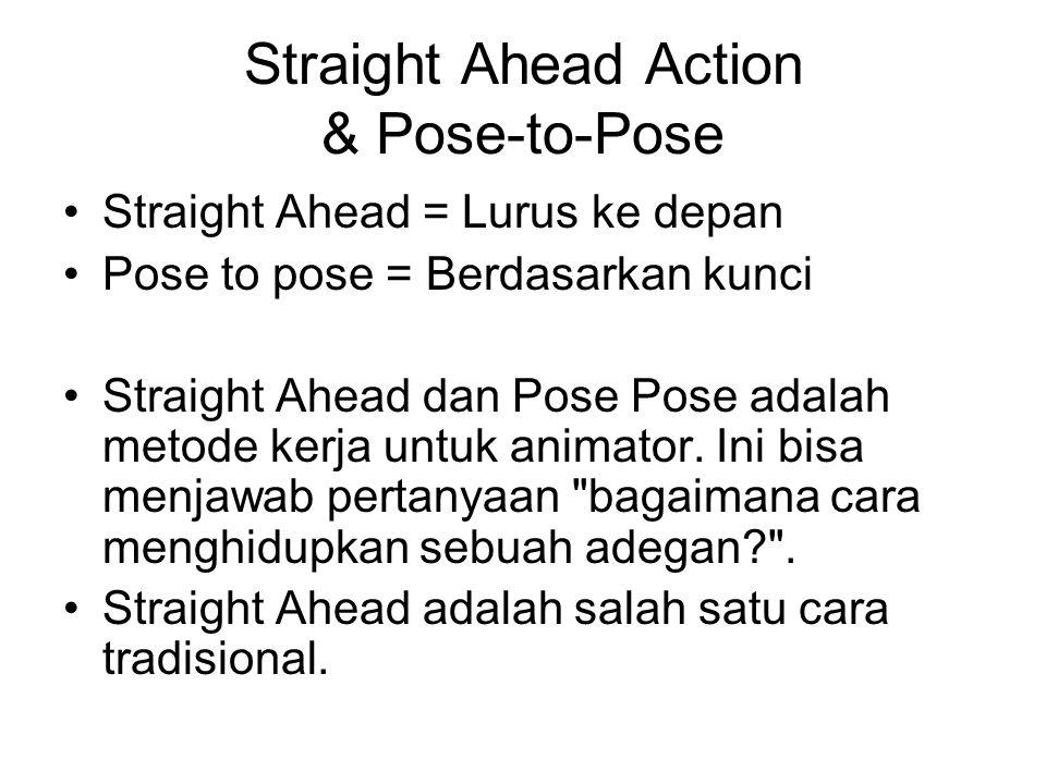 Straight Ahead Action & Pose-to-Pose Straight Ahead = Lurus ke depan Pose to pose = Berdasarkan kunci Straight Ahead dan Pose Pose adalah metode kerja