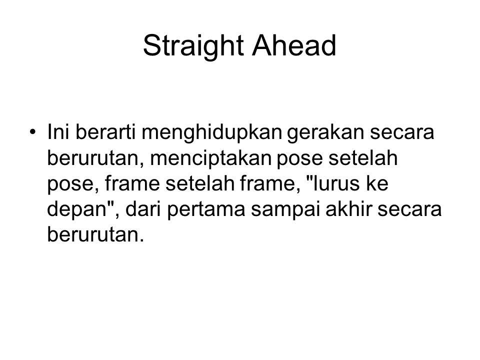Straight Ahead Ini berarti menghidupkan gerakan secara berurutan, menciptakan pose setelah pose, frame setelah frame,