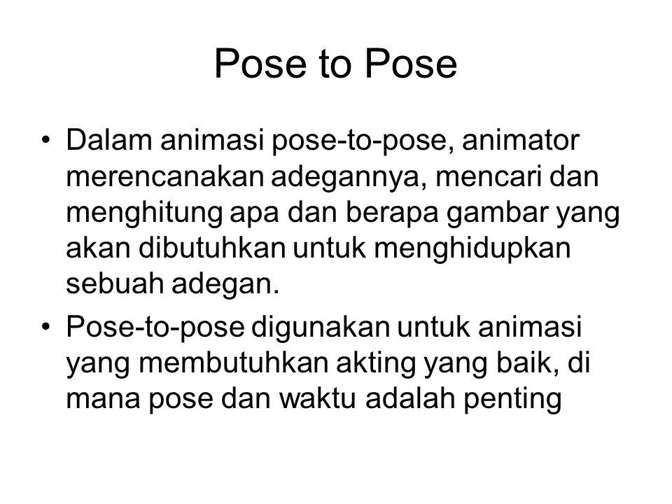 Pose to Pose Dalam animasi pose-to-pose, animator merencanakan adegannya, mencari dan menghitung apa dan berapa gambar yang akan dibutuhkan untuk meng