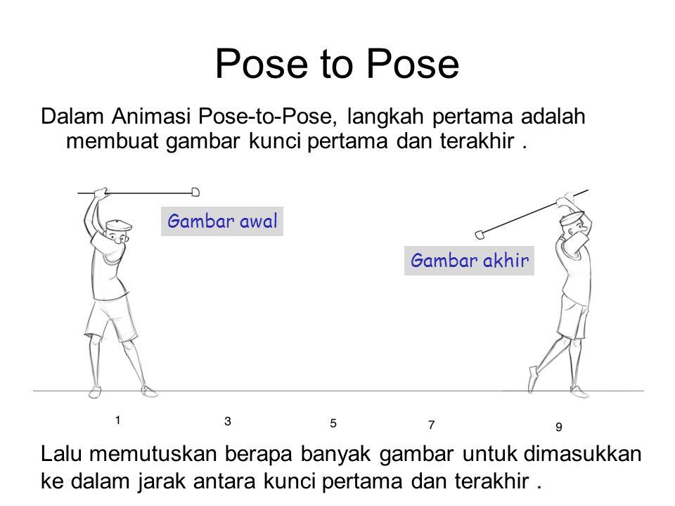 Pose to Pose Dalam Animasi Pose-to-Pose, langkah pertama adalah membuat gambar kunci pertama dan terakhir. Gambar awal Gambar akhir Lalu memutuskan be