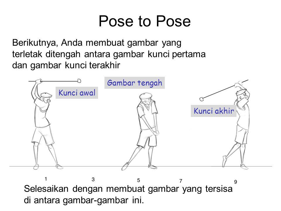 Pose to Pose Berikutnya, Anda membuat gambar yang terletak ditengah antara gambar kunci pertama dan gambar kunci terakhir Selesaikan dengan membuat ga