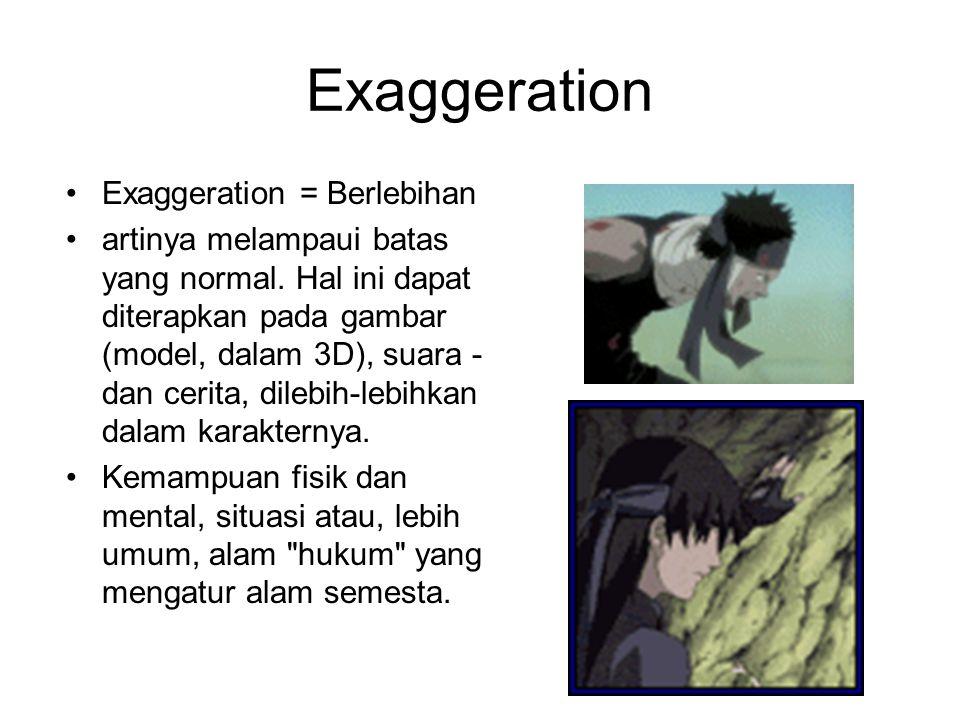Exaggeration Exaggeration = Berlebihan artinya melampaui batas yang normal. Hal ini dapat diterapkan pada gambar (model, dalam 3D), suara - dan cerita