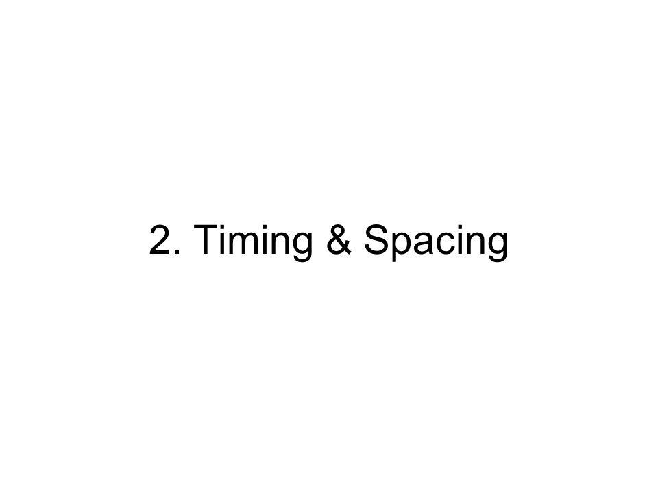 Timing & Spacing Sebuah elemen penting dari animasi adalah waktu dan jarak antar gambar Timing adalahSatuan waktu yang memperlihatkan kecepatan perpindahan dari gambar.