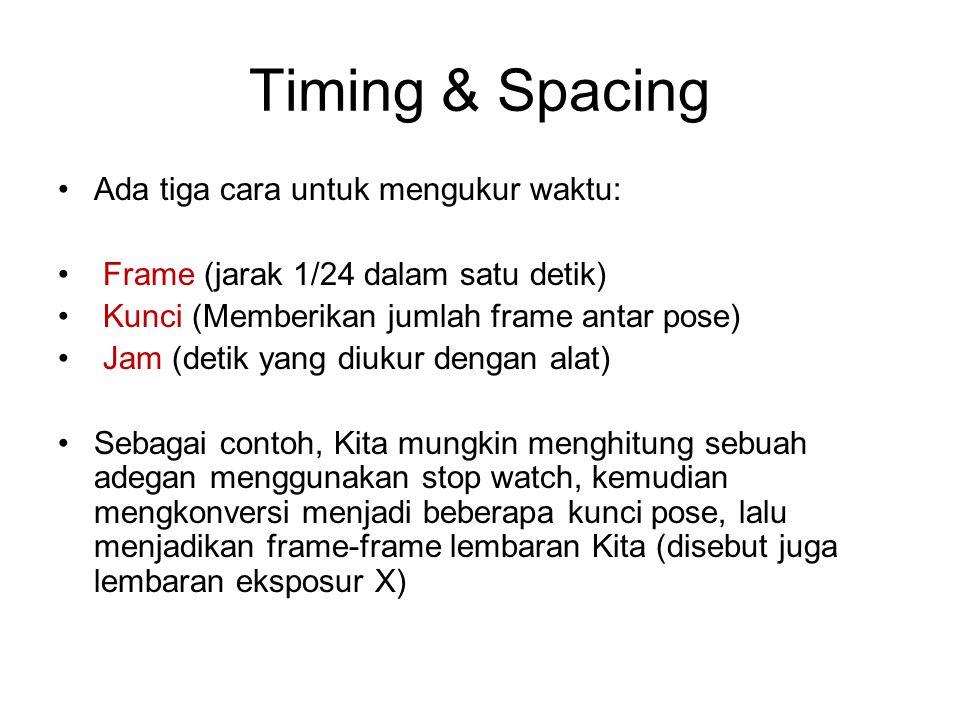 Timing & Spacing Ada tiga cara untuk mengukur waktu: Frame (jarak 1/24 dalam satu detik) Kunci (Memberikan jumlah frame antar pose) Jam (detik yang di