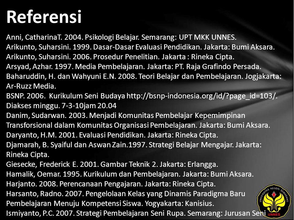 Referensi Anni, CatharinaT. 2004. Psikologi Belajar. Semarang: UPT MKK UNNES. Arikunto, Suharsini. 1999. Dasar-Dasar Evaluasi Pendidikan. Jakarta: Bum