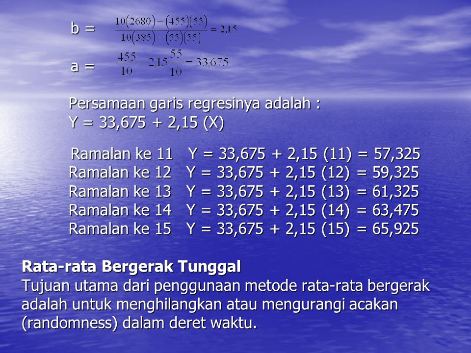 b = a = Persamaan garis regresinya adalah : Y = 33,675 + 2,15 (X) Ramalan ke 11 Y = 33,675 + 2,15 (11) = 57,325 Ramalan ke 12 Y = 33,675 + 2,15 (12) =
