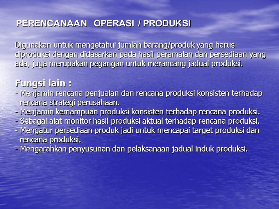 Digunakan untuk mengetahui jumlah barang/produk yang harus diproduksi dengan didasarkan pada hasil peramalan dan persediaan yang ada, juga merupakan p