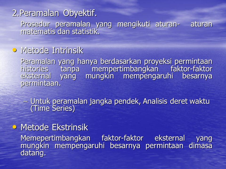 2.Peramalan Obyektif. Prosedur peramalan yang mengikuti aturan- aturan matematis dan statistik. Prosedur peramalan yang mengikuti aturan- aturan matem