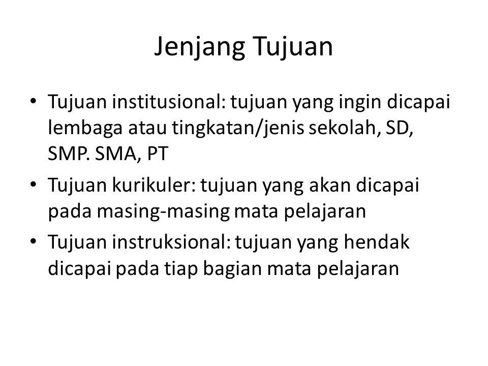 Jenjang Tujuan Tujuan institusional: tujuan yang ingin dicapai lembaga atau tingkatan/jenis sekolah, SD, SMP. SMA, PT Tujuan kurikuler: tujuan yang ak