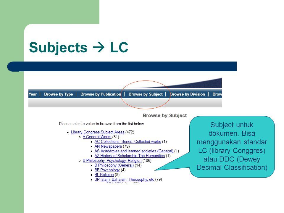 Subjects  LC Subject untuk dokumen.