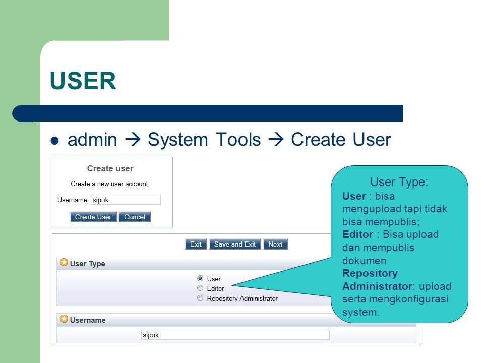 USER admin  System Tools  Create User User Type: User : bisa mengupload tapi tidak bisa mempublis; Editor : Bisa upload dan mempublis dokumen Repository Administrator: upload serta mengkonfigurasi system.