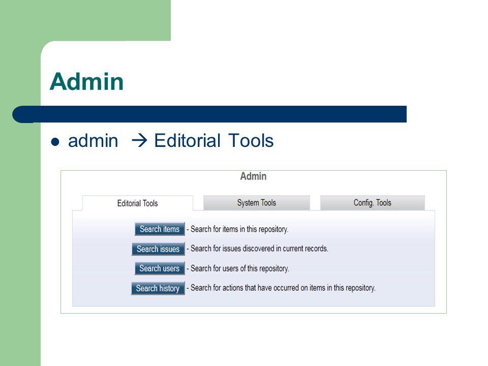 Admin admin  Editorial Tools