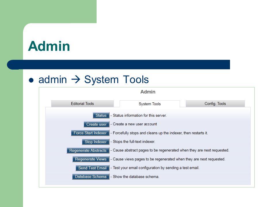 Admin admin  System Tools