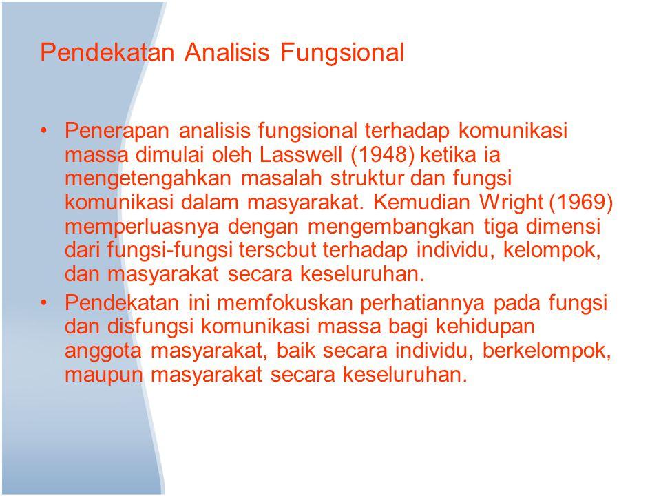 Pendekatan Analisis Fungsional Penerapan analisis fungsional terhadap komunikasi massa dimulai oleh Lasswell (1948) ketika ia mengetengahkan masalah struktur dan fungsi komunikasi dalam masyarakat.