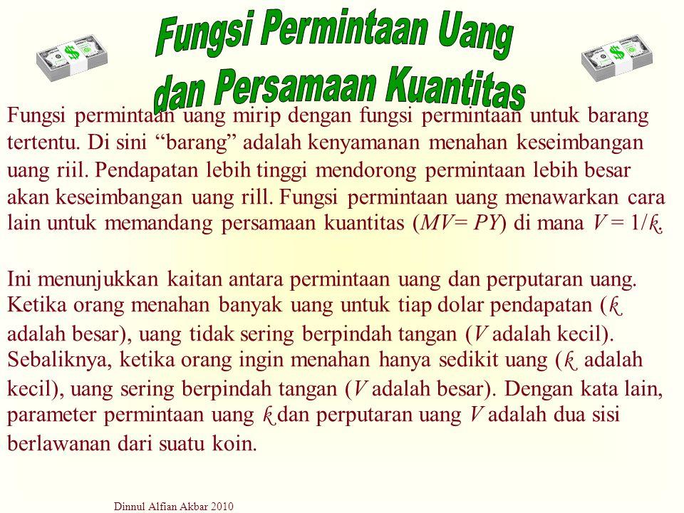 """Dinnul Alfian Akbar 2010 Fungsi permintaan uang mirip dengan fungsi permintaan untuk barang tertentu. Di sini """"barang"""" adalah kenyamanan menahan kesei"""