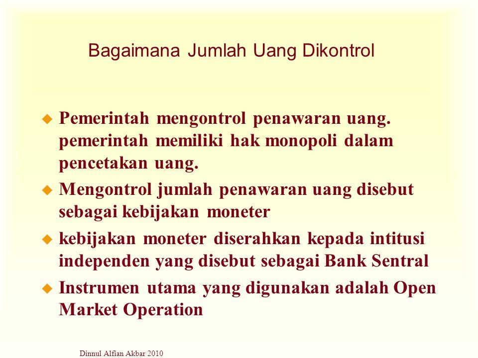 Dinnul Alfian Akbar 2010 Bagaimana Jumlah Uang Dikontrol u Pemerintah mengontrol penawaran uang. pemerintah memiliki hak monopoli dalam pencetakan uan