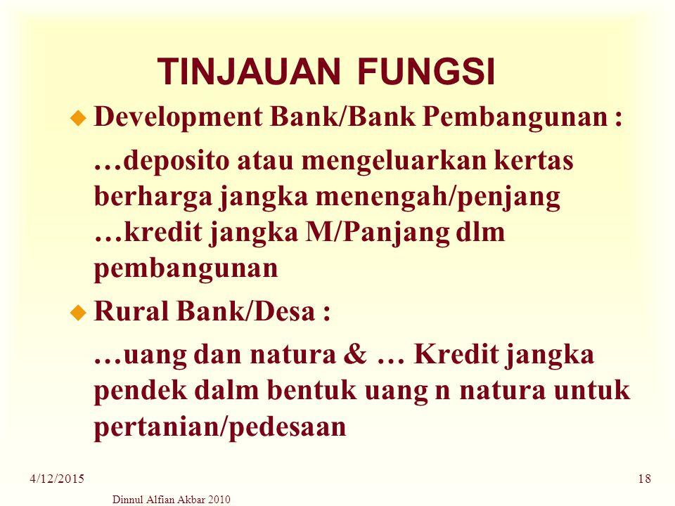 Dinnul Alfian Akbar 2010 4/12/201518 TINJAUAN FUNGSI u Development Bank/Bank Pembangunan : …deposito atau mengeluarkan kertas berharga jangka menengah