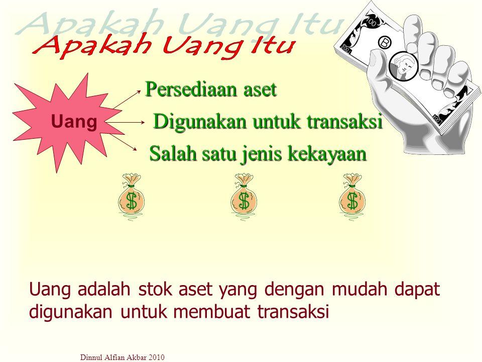 Dinnul Alfian Akbar 2010 Persediaan aset Digunakan untuk transaksi Salah satu jenis kekayaan Uang Uang adalah stok aset yang dengan mudah dapat diguna