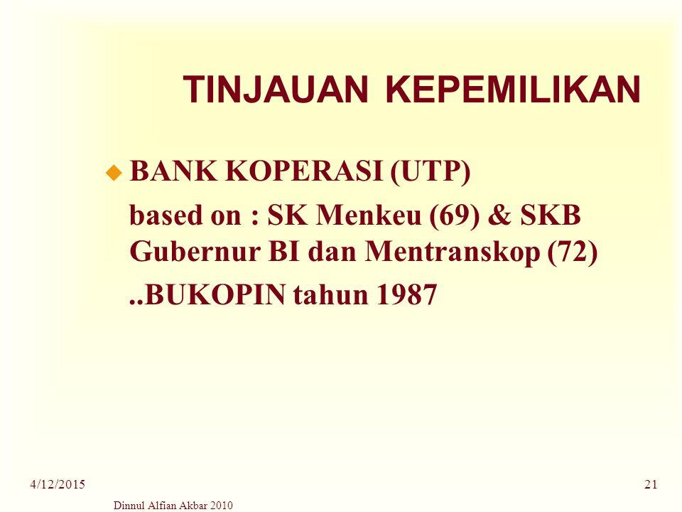 Dinnul Alfian Akbar 2010 4/12/201521 TINJAUAN KEPEMILIKAN u BANK KOPERASI (UTP) based on : SK Menkeu (69) & SKB Gubernur BI dan Mentranskop (72)..BUKO