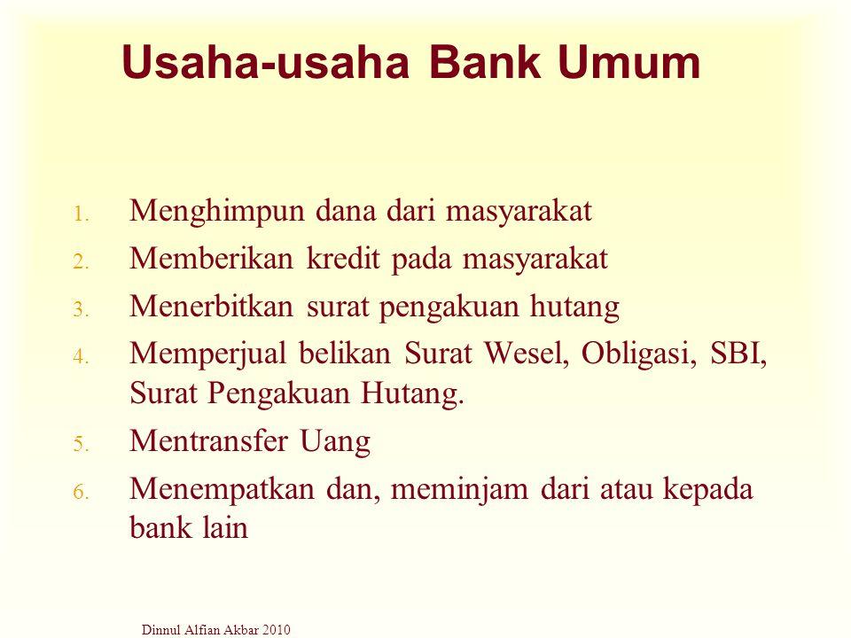 Dinnul Alfian Akbar 2010 Usaha-usaha Bank Umum 1. Menghimpun dana dari masyarakat 2. Memberikan kredit pada masyarakat 3. Menerbitkan surat pengakuan