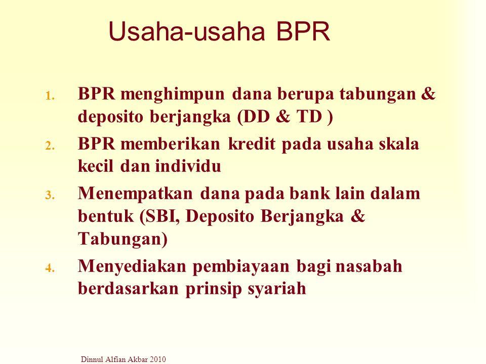 Dinnul Alfian Akbar 2010 Usaha-usaha BPR 1. BPR menghimpun dana berupa tabungan & deposito berjangka (DD & TD ) 2. BPR memberikan kredit pada usaha sk