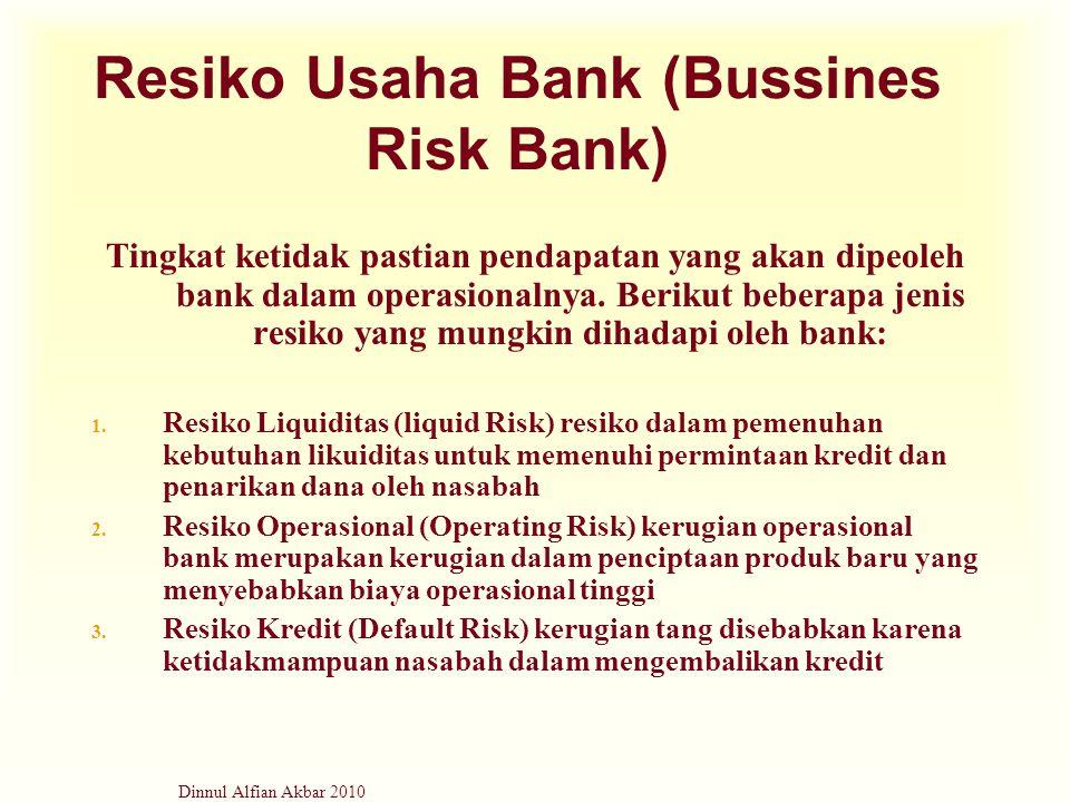 Dinnul Alfian Akbar 2010 Resiko Usaha Bank (Bussines Risk Bank) Tingkat ketidak pastian pendapatan yang akan dipeoleh bank dalam operasionalnya. Berik