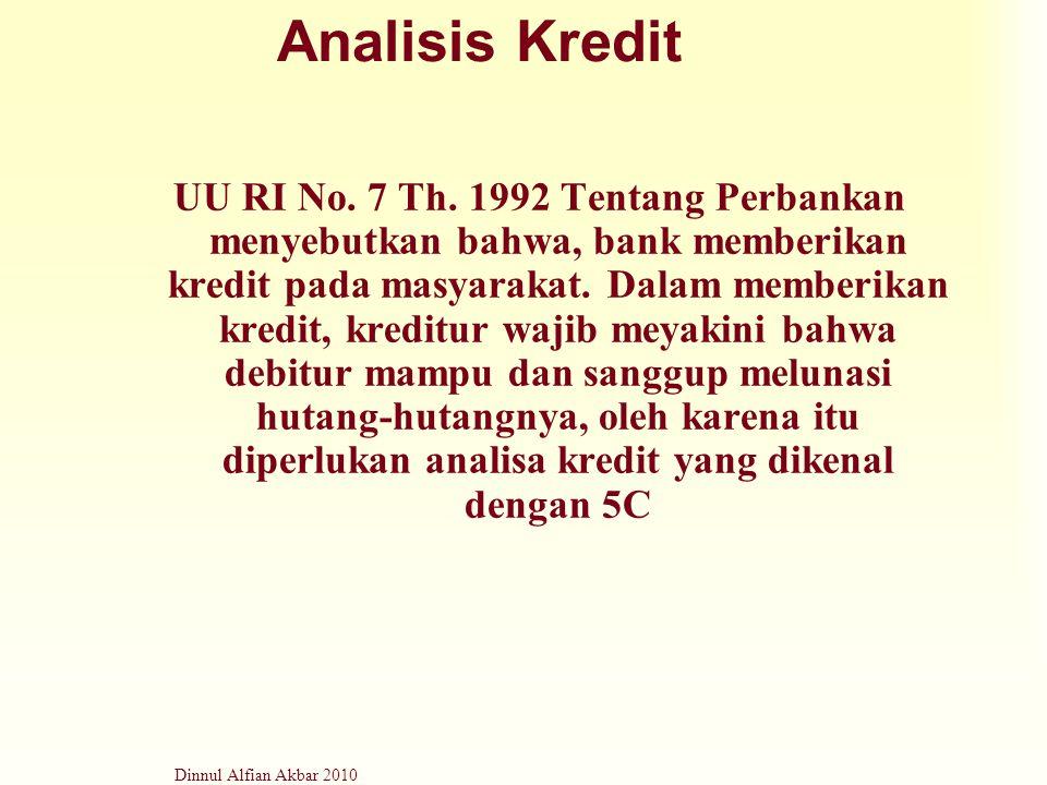 Dinnul Alfian Akbar 2010 Analisis Kredit UU RI No. 7 Th. 1992 Tentang Perbankan menyebutkan bahwa, bank memberikan kredit pada masyarakat. Dalam membe