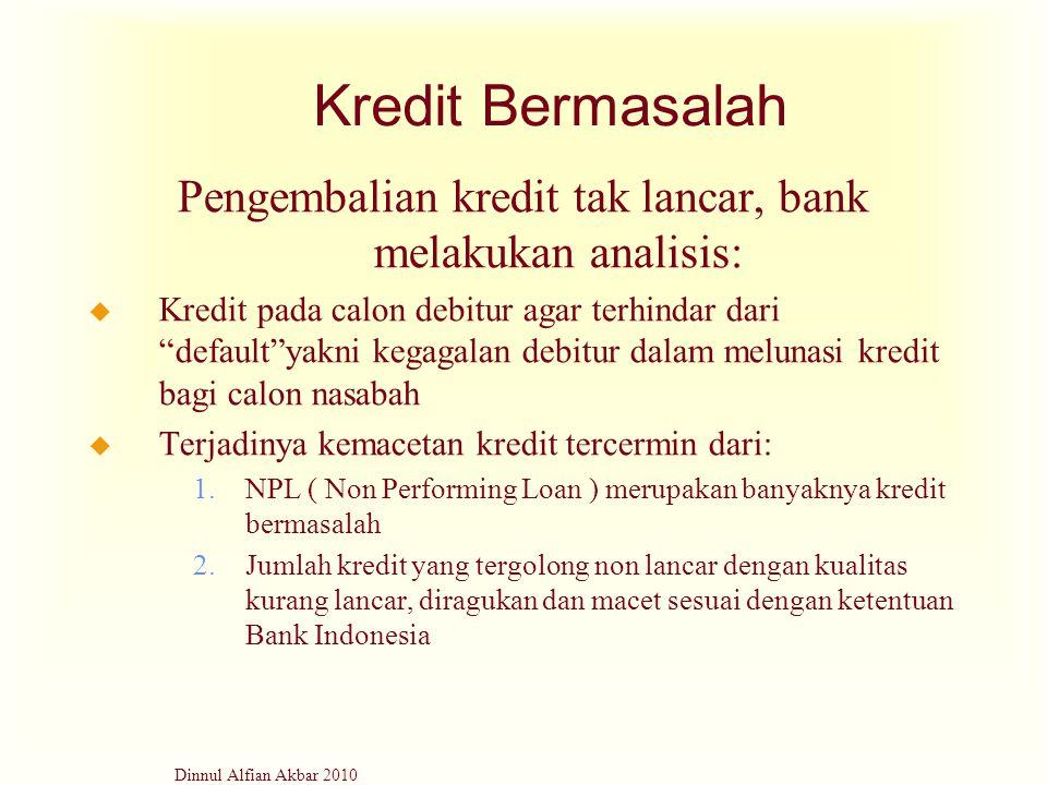 """Dinnul Alfian Akbar 2010 Kredit Bermasalah Pengembalian kredit tak lancar, bank melakukan analisis: u Kredit pada calon debitur agar terhindar dari """"d"""