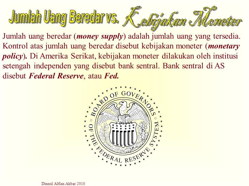 Dinnul Alfian Akbar 2010 Jumlah uang beredar (money supply) adalah jumlah uang yang tersedia. Kontrol atas jumlah uang beredar disebut kebijakan monet