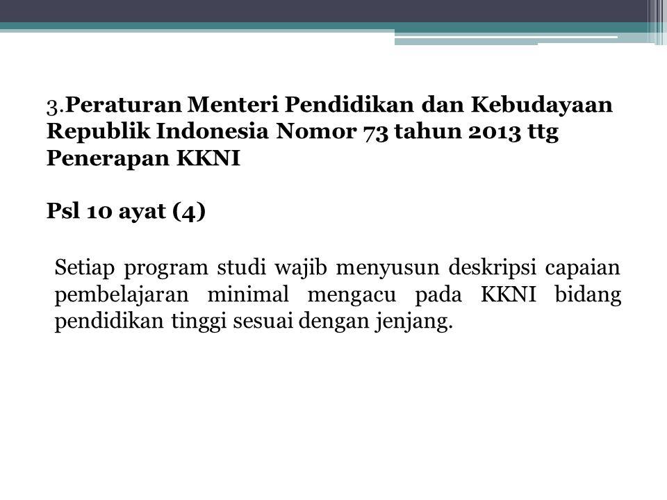 3.Peraturan Menteri Pendidikan dan Kebudayaan Republik Indonesia Nomor 73 tahun 2013 ttg Penerapan KKNI Psl 10 ayat (4) Setiap program studi wajib menyusun deskripsi capaian pembelajaran minimal mengacu pada KKNI bidang pendidikan tinggi sesuai dengan jenjang.