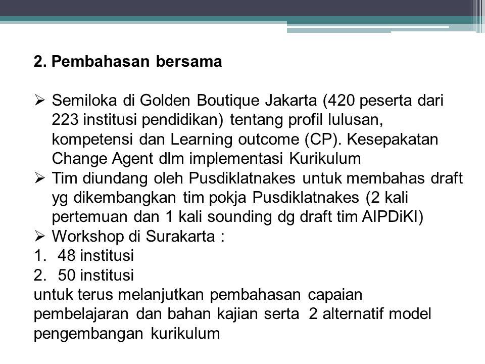 2. Pembahasan bersama  Semiloka di Golden Boutique Jakarta (420 peserta dari 223 institusi pendidikan) tentang profil lulusan, kompetensi dan Learnin