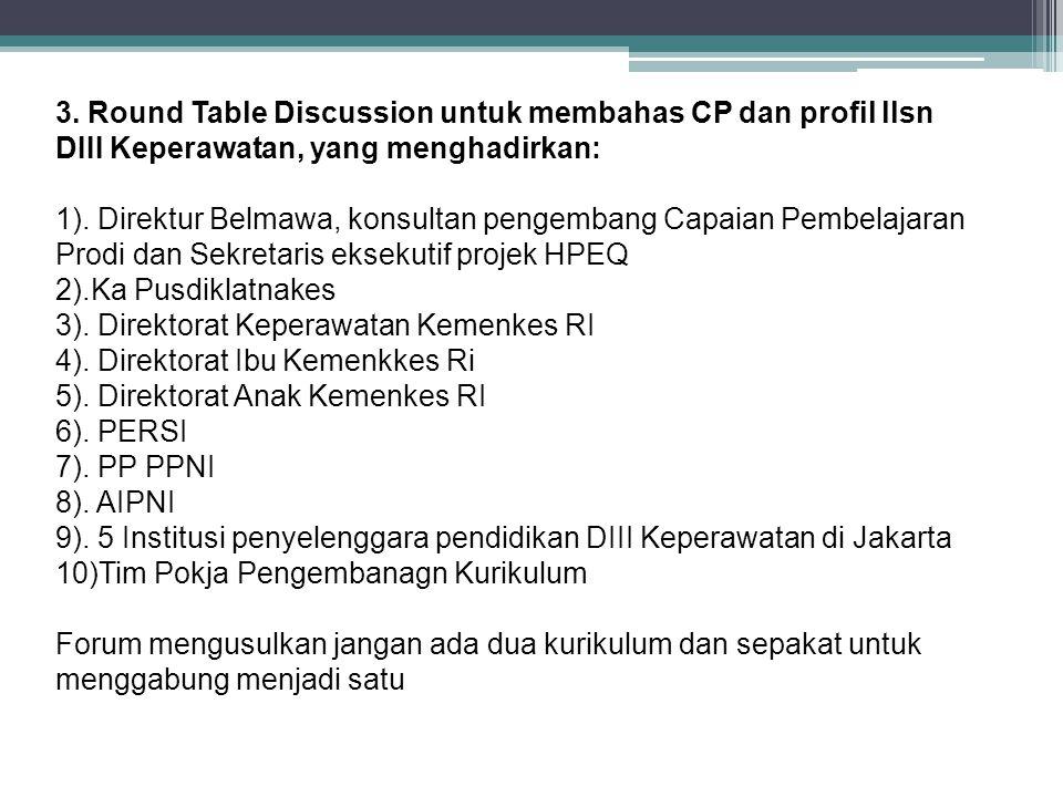 3. Round Table Discussion untuk membahas CP dan profil llsn DIII Keperawatan, yang menghadirkan: 1). Direktur Belmawa, konsultan pengembang Capaian Pe