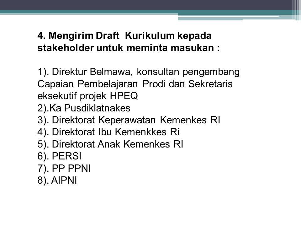 4. Mengirim Draft Kurikulum kepada stakeholder untuk meminta masukan : 1). Direktur Belmawa, konsultan pengembang Capaian Pembelajaran Prodi dan Sekre