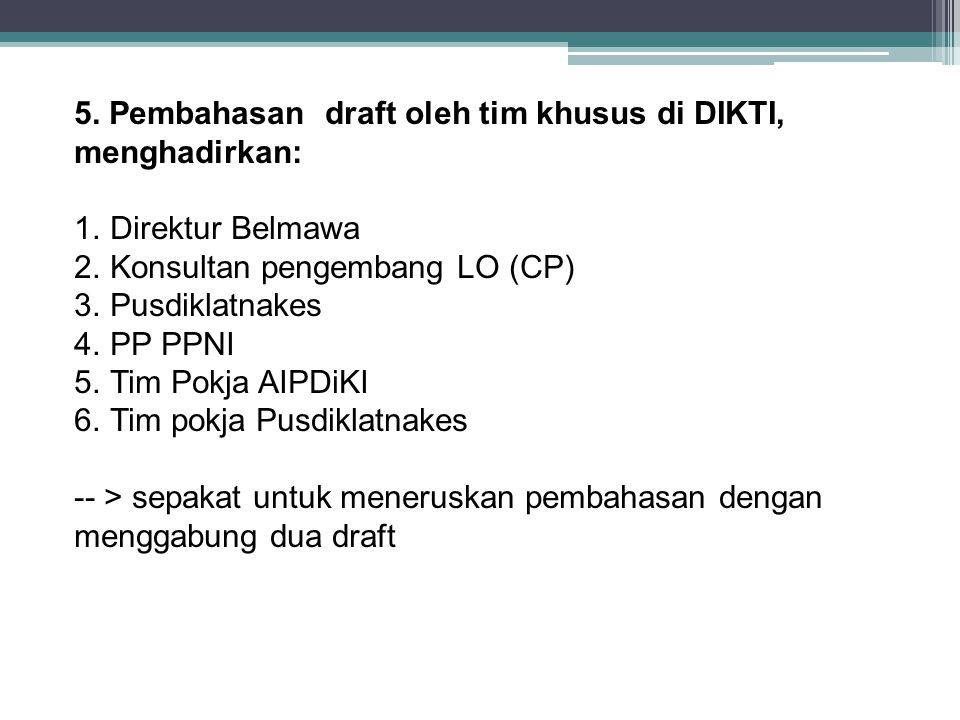 5. Pembahasan draft oleh tim khusus di DIKTI, menghadirkan: 1.Direktur Belmawa 2.Konsultan pengembang LO (CP) 3.Pusdiklatnakes 4.PP PPNI 5.Tim Pokja A