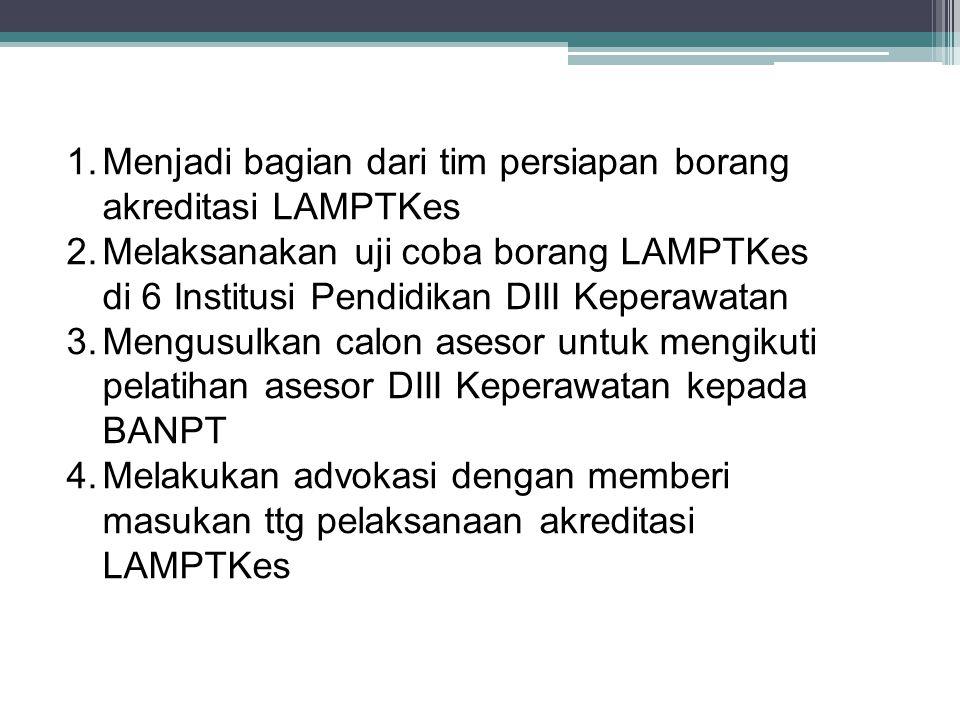 1.Menjadi bagian dari tim persiapan borang akreditasi LAMPTKes 2.Melaksanakan uji coba borang LAMPTKes di 6 Institusi Pendidikan DIII Keperawatan 3.Me