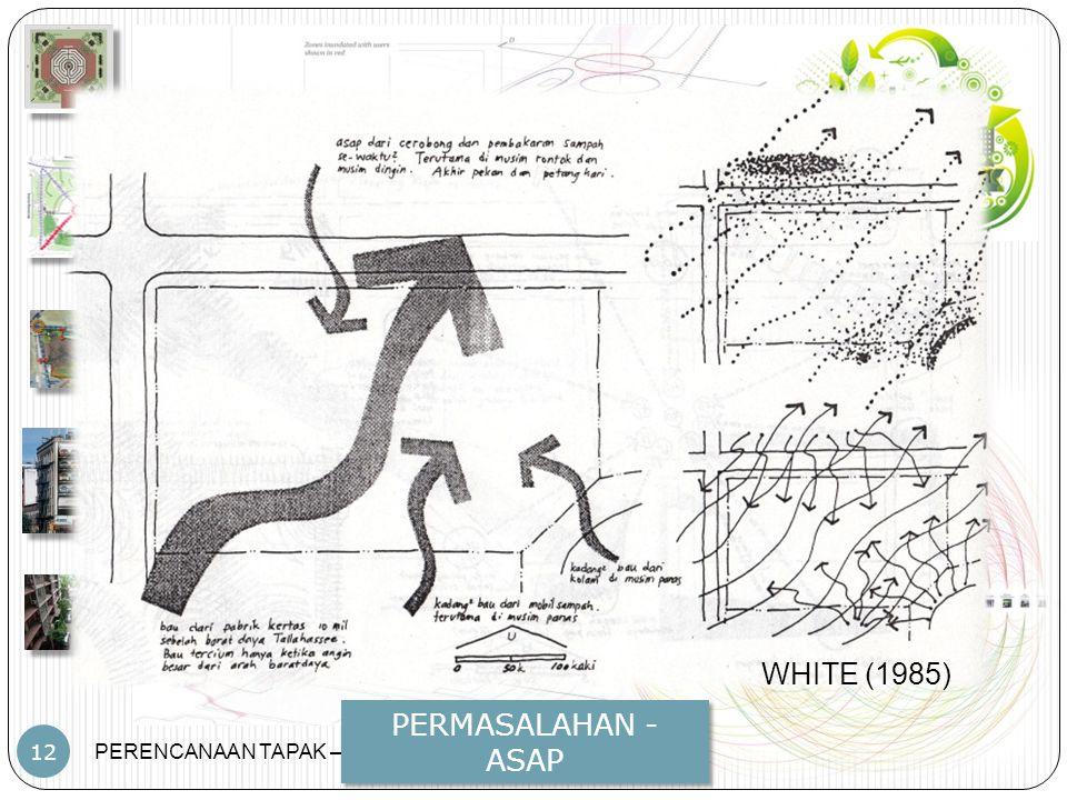 PERENCANAAN TAPAK – JP – PWK.FT.UB 12 PERMASALAHAN - ASAP WHITE (1985)