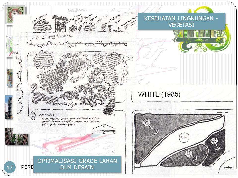 PERENCANAAN TAPAK – JP – PWK.FT.UB 17 KESEHATAN LINGKUNGAN - VEGETASI OPTIMALISASI GRADE LAHAN DLM DESAIN WHITE (1985)